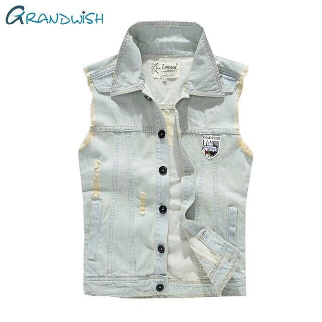 Grandwish Mens Vest Jeans Wash Blue Jeans Waistcoat Mens Hole Vintage Cowboy Jeans Denim Vest Sleeveless Plus Size 3XL , PA858