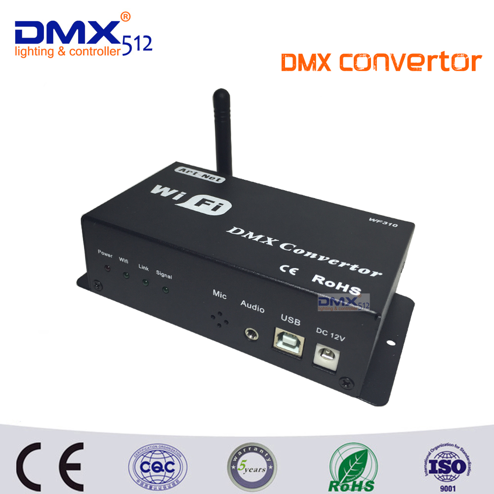 DHL Free shipping WF310 DC12V DMX512 WIFI DMX Controller CONVERTOR Controlled By Android IOS System with USB+art-net dmx512 digital display 24ch dmx address controller dc5v 24v each ch max 3a 8 groups rgb controller