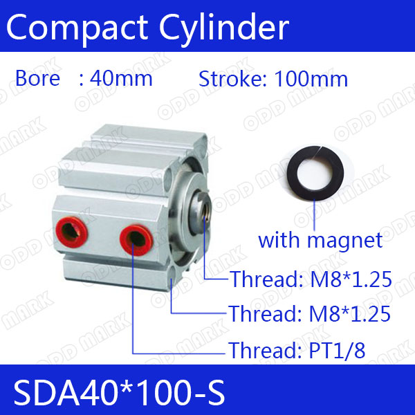 SDA40*100-S Free shipping 40mm Bore 100mm Stroke Compact Air Cylinders SDA40X100-S Dual Action Air Pneumatic Cylinder sda100 30 free shipping 100mm bore 30mm stroke compact air cylinders sda100x30 dual action air pneumatic cylinder