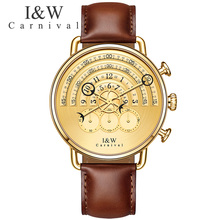 Carnival Watch Men Quartz Big Dial Waterproof All Gild Stainless Steel Leather Stop watch Watches
