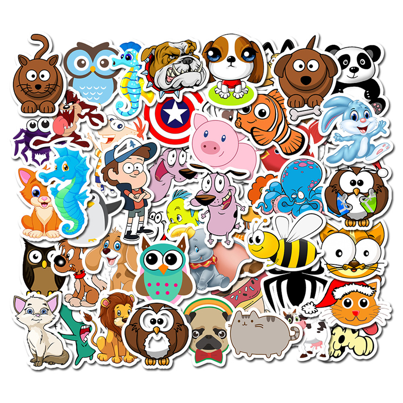 50Pcs/Lot Cartoon Animals Sticker For Kids Toy Luggage Skateboard Phone On Laptop Moto Bicycle Wall Guitar Stickers