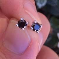 925 Sterling Silver Cubic Zirconia Stud Earrings Mens Round18k White Gold Plated Black CZ Diamond 3