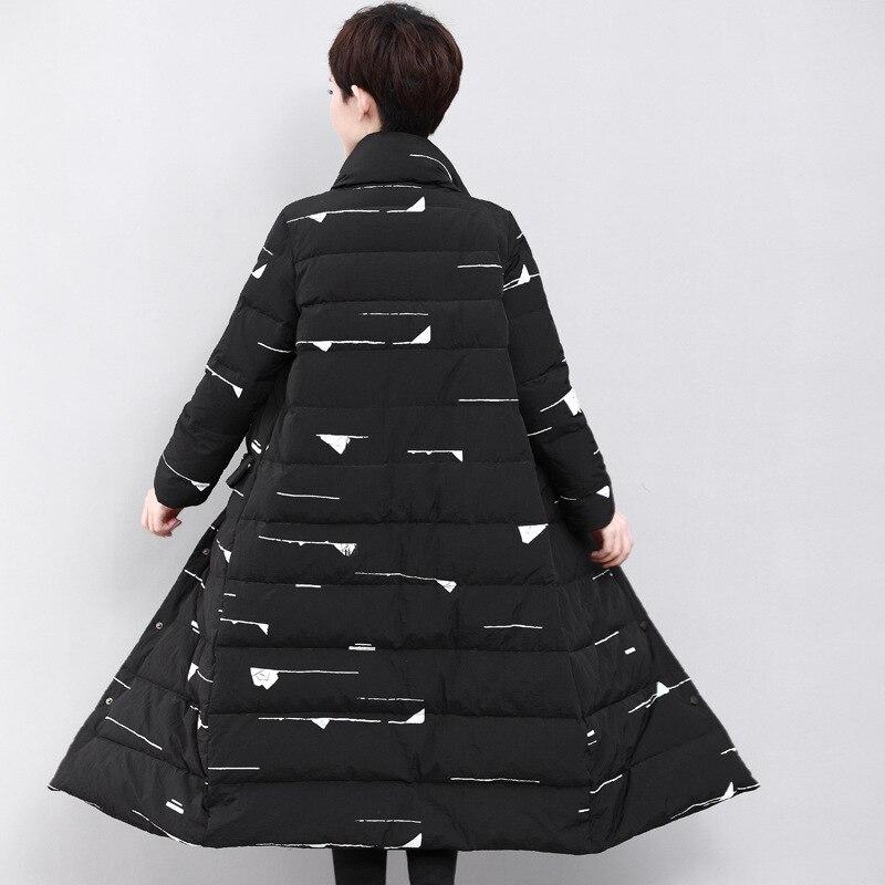 Nouvelles Vers Hb451 Épais Bas Col Le Haute D'hiver 2017 Taille Femmes Noir D'impression Plus Hijklnl La Manteaux Veste Stand Qualité tqwTHCnS