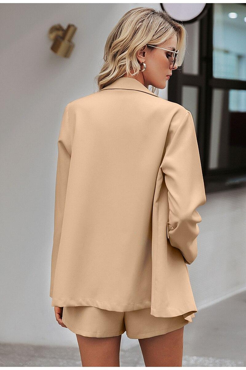 Simplee Elegant two-pieces women short suit Casual streetwear suits female blazer sets Chic 19 office ladies women blazer suit 8