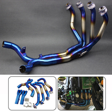 Для Kawasaki 2010-2018 Z1000 мотоциклетные Модифицированная Нержавеющая сталь глушитель передняя Труба трубки полный Системы синий и серебро