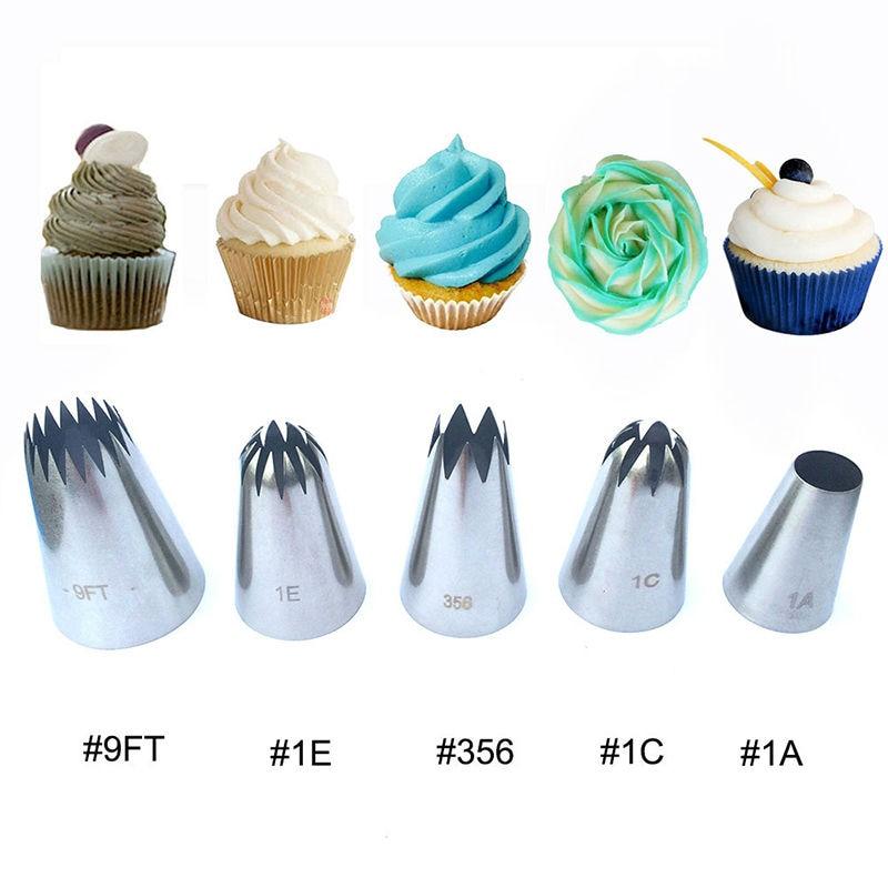 5pcs Μεγάλες Μεταλλικές Κέικ Κρέμα Διακόσμηση Συμβουλές Set Εργαλεία Ζαχαροπλαστικής Σωλήνες από ανοξείδωτο χάλυβα Icing ακροφύσιο Cupcake Head