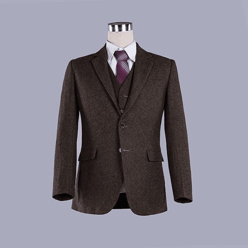Wool Man Sute Wedding: 2016 New Dark Brown Classic Wool Suits Tweed Men Slim Fit