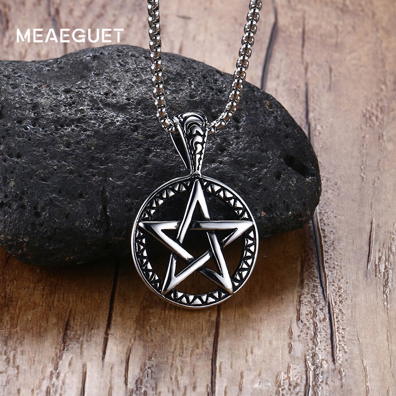 Meaeguet Hiphop Lucifer Satan Pentacle Necklaces Mens 316L Stainless Steel Chain Pentagram Necklace for Men Cjocker Free Chains