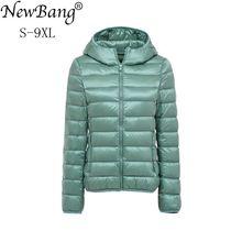 NewBang 8XL 9XL PLUS ขนาด Ultra Light Down JACKET ผู้หญิงฤดูใบไม้ร่วงฤดูหนาวเสื้ออบอุ่นสีขาวเป็ดเสื้อแจ็คเก็ตหญิง Hooded Parka