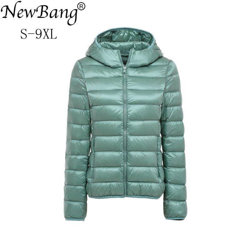 NewBang 8XL 9XL Plus Size Ultra Light Down Jacket Women Autumn  Winter Warm Coat White Duck Jackets Female Hooded ParkaDown Coats   -