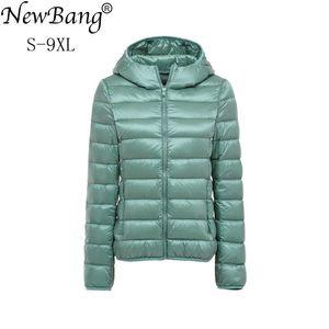 Image 1 - NewBang 8XL 9XL בתוספת גודל קל במיוחד למטה מעיל נשים סתיו חורף חם מעיל לבן ברווז מעילי נקבה סלעית Parka