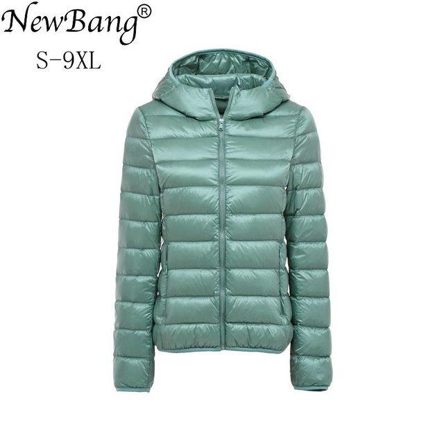 NewBang 8XL 9XL בתוספת גודל קל במיוחד למטה מעיל נשים סתיו חורף חם מעיל לבן ברווז מעילי נקבה סלעית Parka
