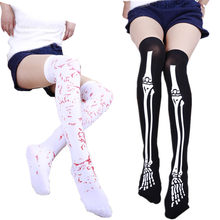 c7b8a026069 3 pairs Women Novelty Fashion Halloween Skeleton Socks Dress Up Bones Sock  Funny Stretchy Knee High
