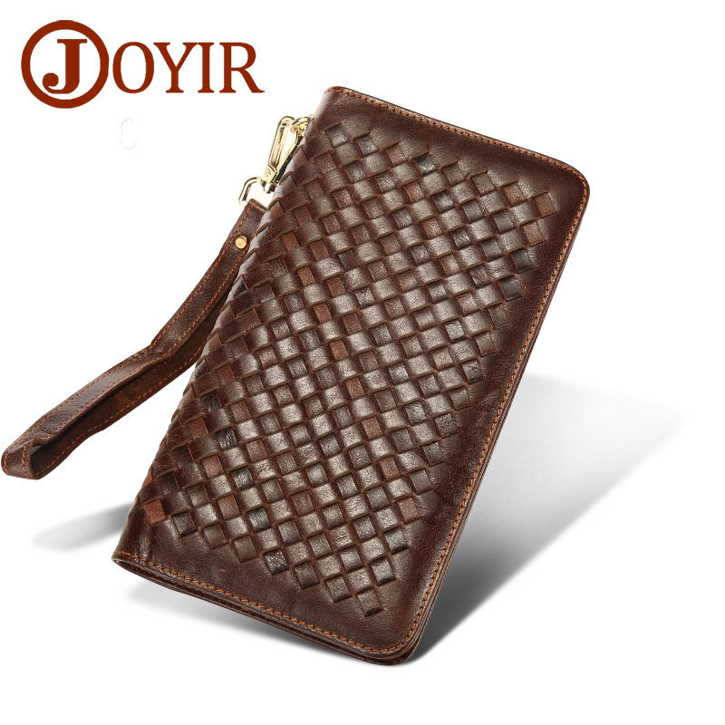 JOYIR Genuine Leather Men Wallets Zipper knitted Design Business Male Wallet Fashion Purse Card Holder Long