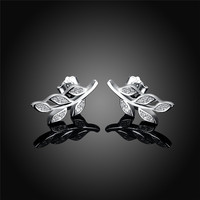 Leaf Stud Earrings For Women Bijoux Fashion Jewelry Wholesale Ear Cuffs Classic Delicate Rhinestone 925 Sterling