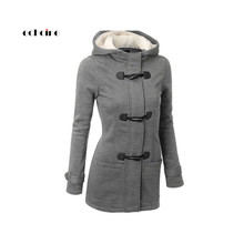 Echoine Women Casual Coats Ox Horn Buckle Long Sleeve Zipper Button Plus Size Thicken Jacket Warm Cashmere Hooded Female Outwear plus size hooded horn button coat