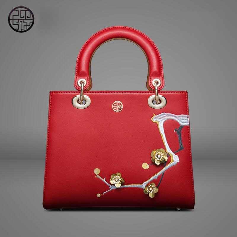 free delivery Genuine Leather women bag Chinese wind inclined bag Fashion embroidery beads handbag Dinner Princess package