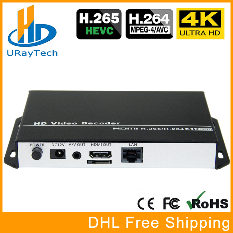 URay H.265 H.264 1080P HD Decodificador de video HDMI + AV / RCA Decoder IP Decodificador de cámara IP Soporte RTSP UDP HLS RTMP HTTP Decode