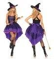 Más el tamaño xxl-s traje de la bruja de halloween para las mujeres adultos sexy púrpura tirantes dress swallow tail sombrero de fiesta de carnaval traje femenino