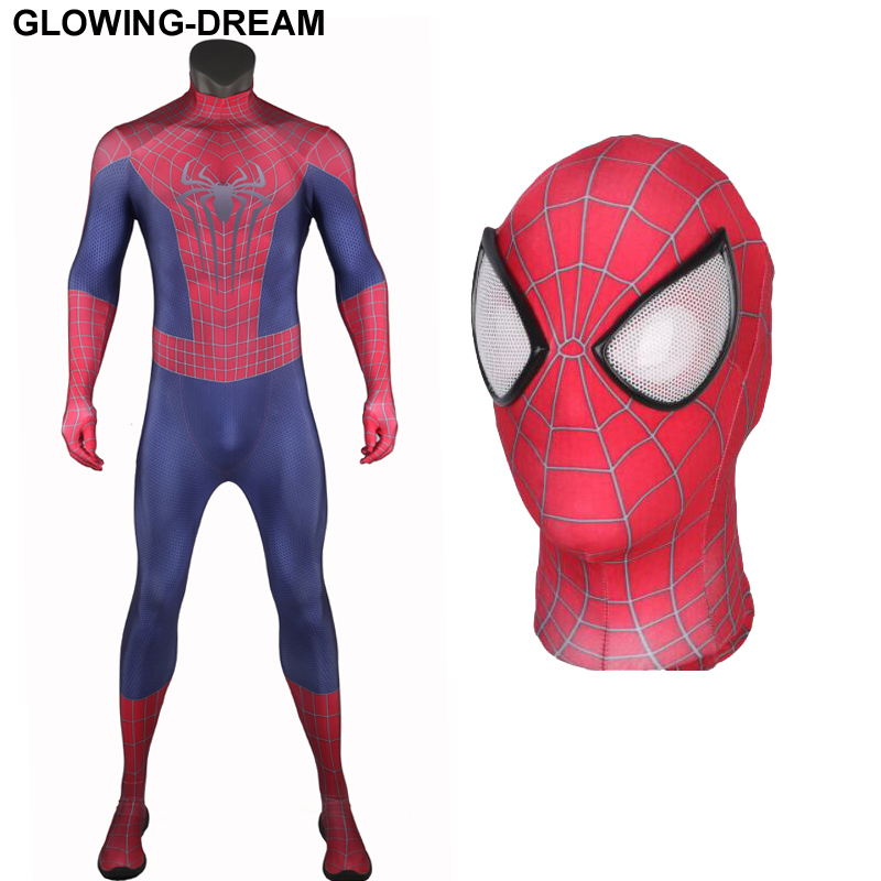 High Quality Amazing Spider Man Fullbody Zentai Suit With U-zipper Amazing Spiderman Costume For Halloween Party 3D Printing