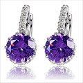 Alta Qualidade Banhado A Ouro Branco CZ Diamante Zircon Brincos de Argola Para As Mulheres Moda Casamento Jóias Brinco 9 Cores