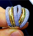 Виктория вик вечность 236 шт. топаз моделируется алмаз 14KT белое и желтое золото заполненные женщины участие обручальное кольцо Sz 5 - 11