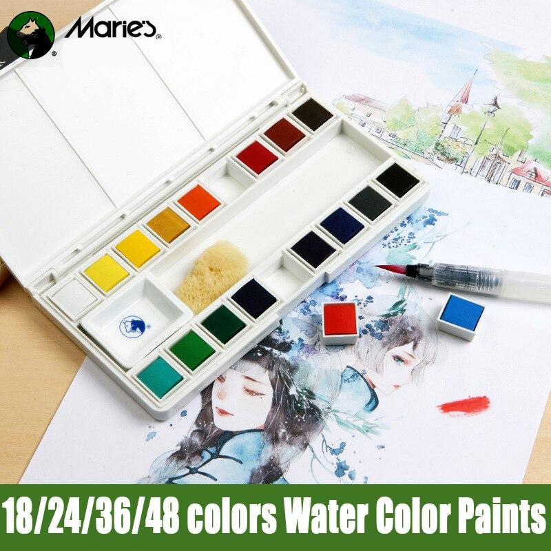 Maries Wasser Farbe Ölfarbe Set Acuarelas Aquarell Malen mit Wasser Pinsel Stift Waterverf Feste Aquarell Farben Farben