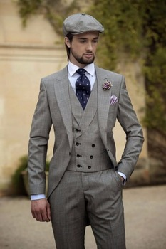 Gray Mens Morning Suit Wedding Suits Bespoke Tuxedos With Double Breasted Vest C194