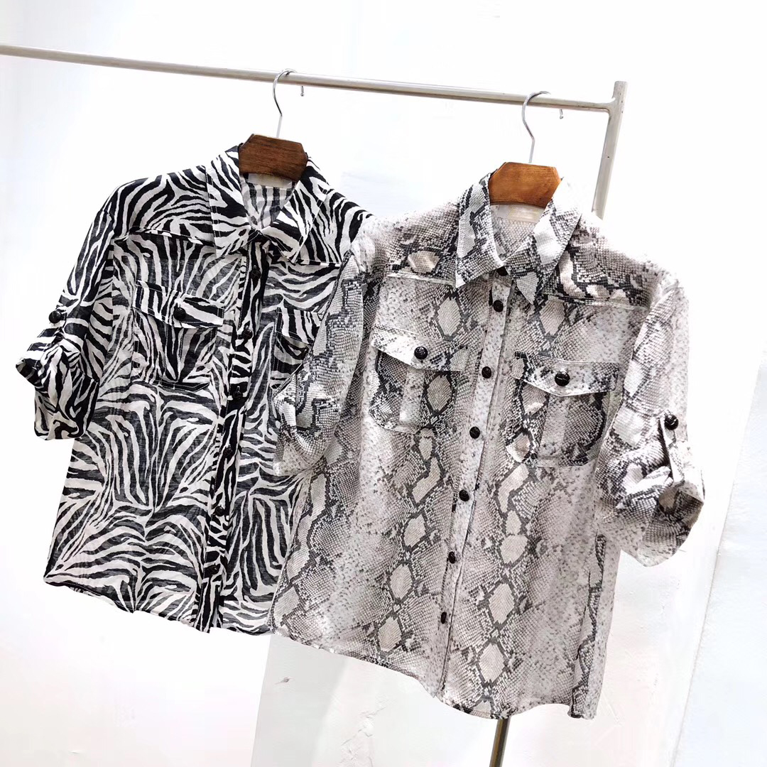 High Street Snake Skin Print Shirts Ladies Quality Short Sleeve Hot Sale Blogger Wear Fashion Blouses