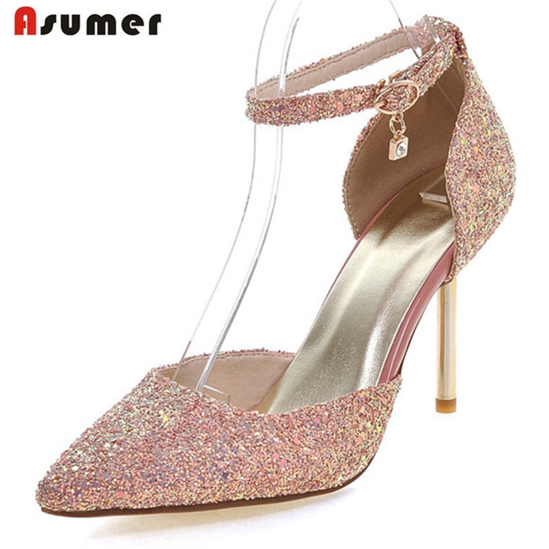 ASUMER Summer shoes woman thin high heels 9cm party shoes buckle pointed toe women pumps fashion shoes big size 34-43 women pumps flock high heels shoes woman fashion 2017 summer leather casual shoes ladies pointed toe buckle strap high quality