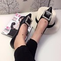 European station pointed women's singles shoes flat heeled shoes shallow mouth diamond square buckle 2016 new casual shoes women