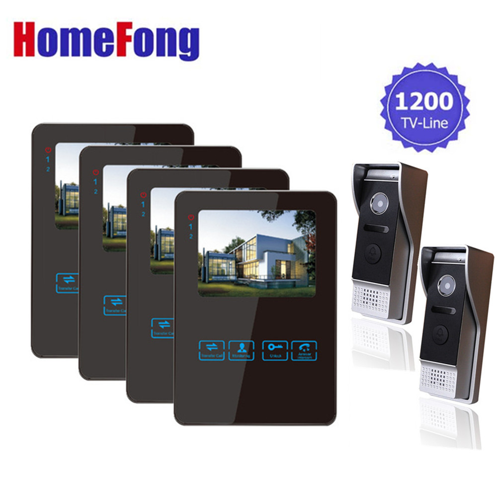 Homefong Video Door Phone Recording Video Entry Phone intercom 4 Inch LCD Indoor Monitor and 2 Security Doorbell Night Vision homefong 4 inch monitor lcd color video record door phone doorbell intercom system night vision 1200tvl high resolution