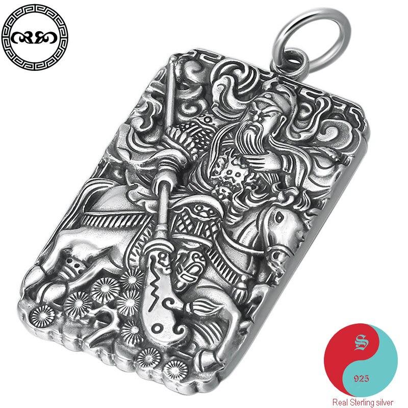 Rétro solide réel 925 argent Sterling collier vintage chanceux chinois guanyu cheval amulette pendentif collier