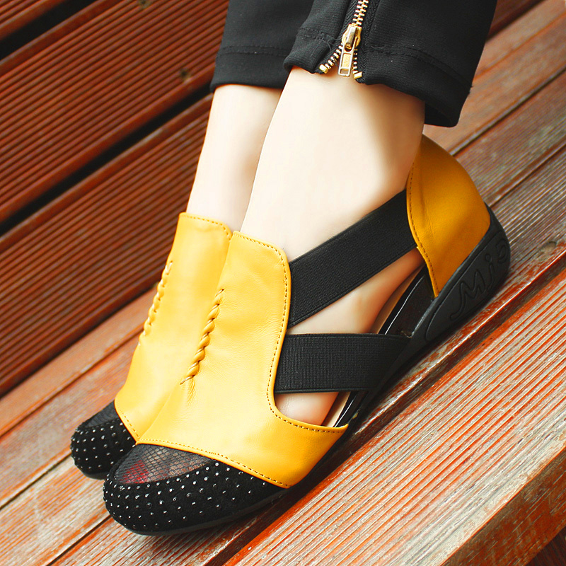 Summer Sandals Women 2018 Lady Yellow Red Shoes Woman Platform Flats Shoes Causal Rhinestone Sandals Roma Female Gladiator Shoes (31)