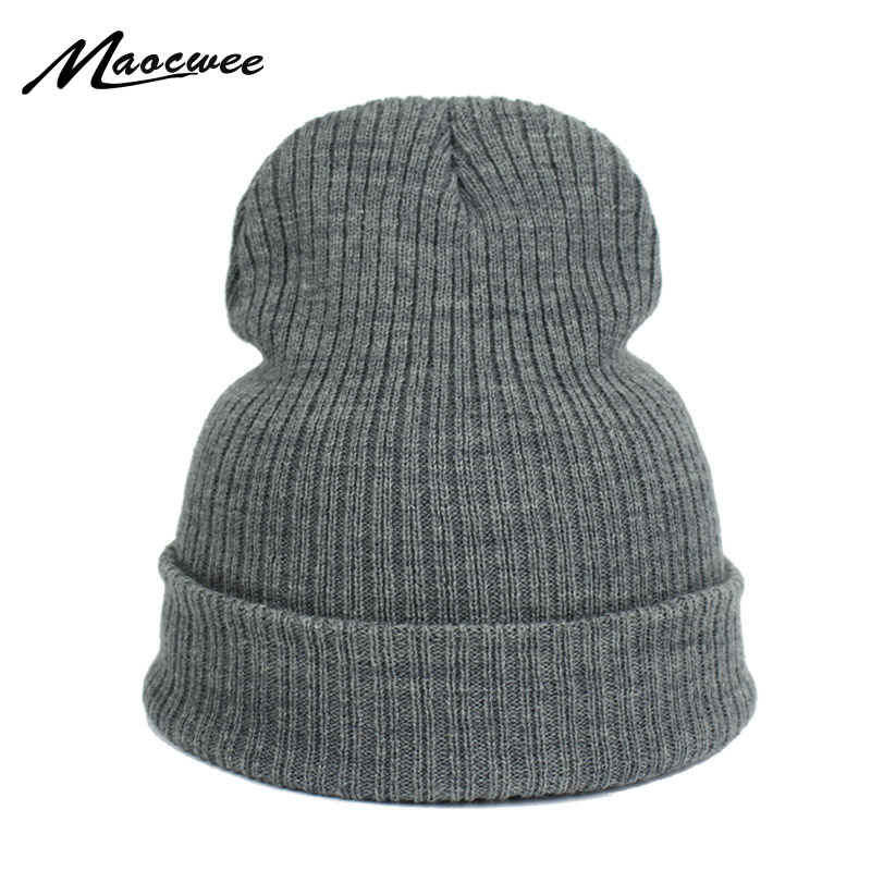 2018 New Winter Hats Solid Ski Hat Female Unisex Plain Warm Soft Women's   Skullies     Beanies   Knitted Bone Gorro Caps for Men Women