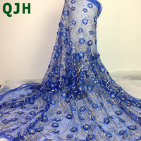 New Arrive Pretty Multi Color 3D Flowers Gold Silk Embroidery French Lace Fabrics Mesh Tulle Wedding
