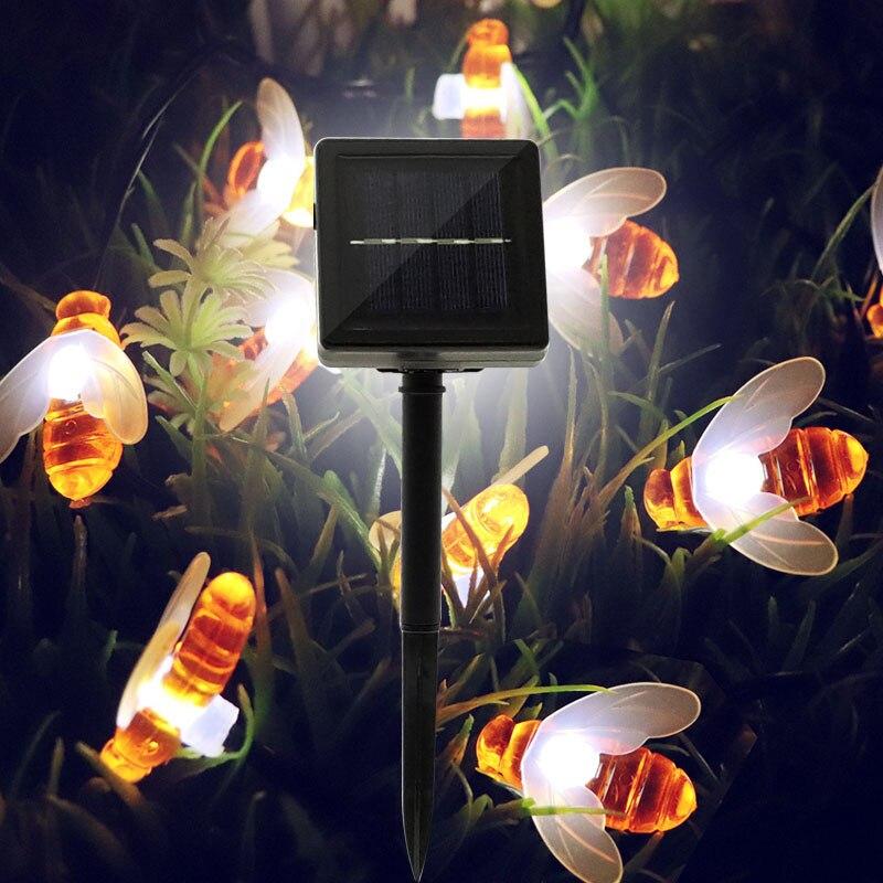 Solar//Battery Bee Fairy Tale Waterproof Garden Ornament DIY Decoration Light Acc