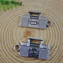 Julie Wang 15 Uds antiguo aparato de Radio de plata Vintage colgantes de aleación para collar pendiente pulsera joyería accesorio