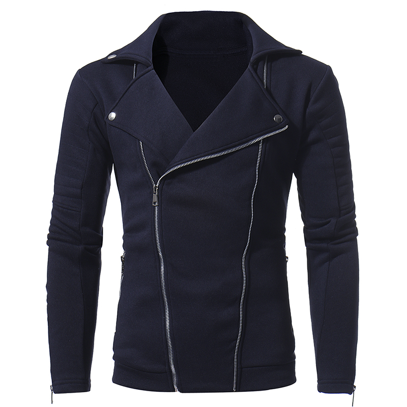 Men's Solid Casual Jacket Tops 2017 Autumn Winter Men Double Oblique Zipper Personality Long Sleeve Clothing Jackets Size S-3XL