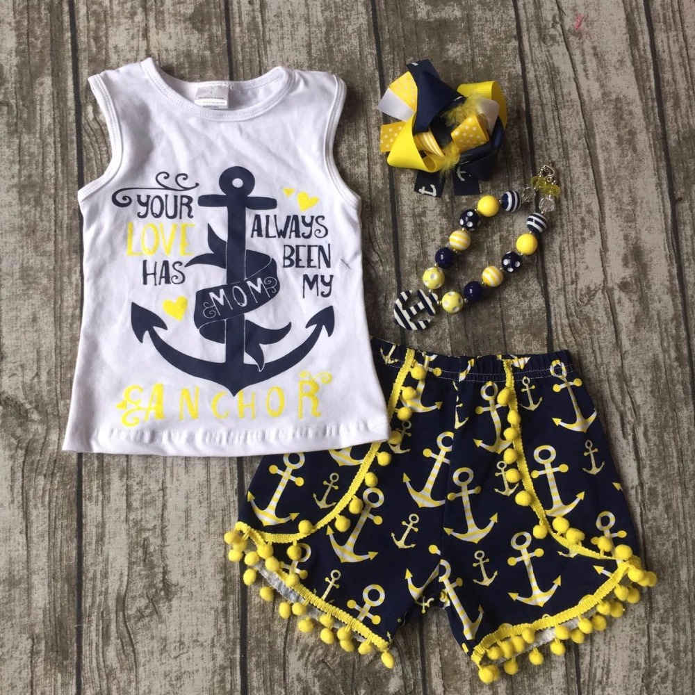 July 4th Summer Outfit Girls Clothes Navy Always Been My Mom Kids N Bab Girl Set Blue Flower Size 12m Anchor Print Shorts Sleeveless Cotton Matching Accessories In Clothing Sets From