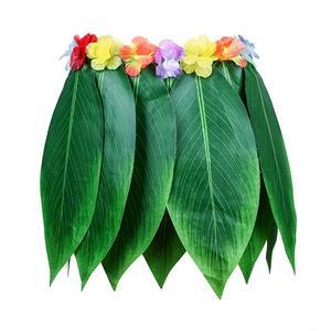 Image 5 - 4 pz Adulto Tropicale Vestiti Hawaii Costume Lascia Pannello Esterno Gonna di Erba Hawaiano Spiaggia del Pannello Esterno di Ballo con Ghirlanda per Traval Festival