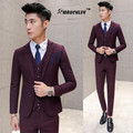 Korean Slim Fit Mens Prom Suits Wine Red Gray 3 Piece (Jacket + Vest + Pants) Wedding Suit For Men Boys Dinner Suits Tuxedo 2017