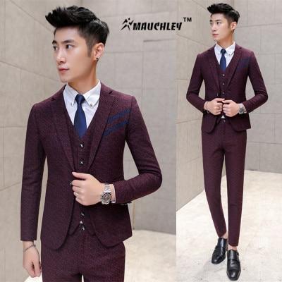 Korean Slim Fit Mens Prom Suits Wine Red Gray 3 Piece (Jacket + Vest + Pants) Wedding Suit For Men Boys Dinner Suits Tuxedo 2017