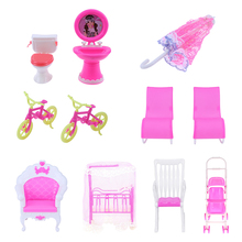 1pc Mini Doll House Furniture Dollhouse Room Decoration Doll Rocking Chair Sunshade Umbrella Bicycles Bike Children