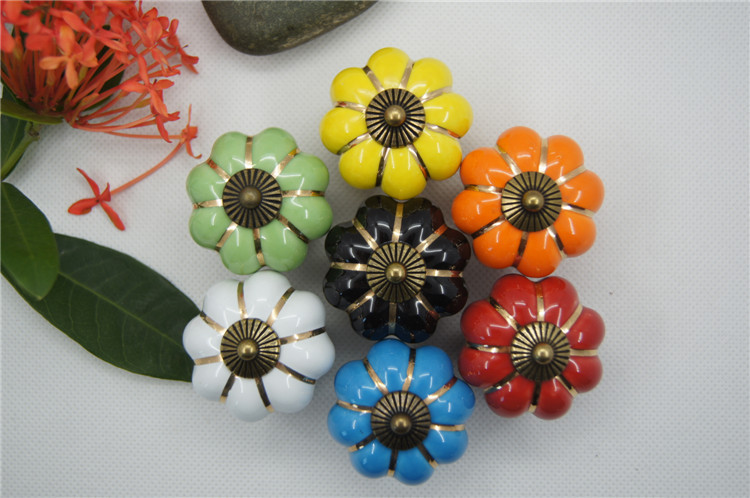 5 pcs High Quality Vintage Pumpkin Ceramic Door Knobs Cabinet Drawer Cupboard Kitchen Pull 7 Colors Free Shipping push to open beetles drawer cabinet latch catch touch release kitchen cupboard new arrival high quality