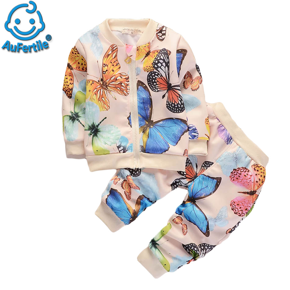 Colorful Fashion Spring Autumn Warm suits Butterfly Suite Colorful High Quality Cotton Children Sport Clothes