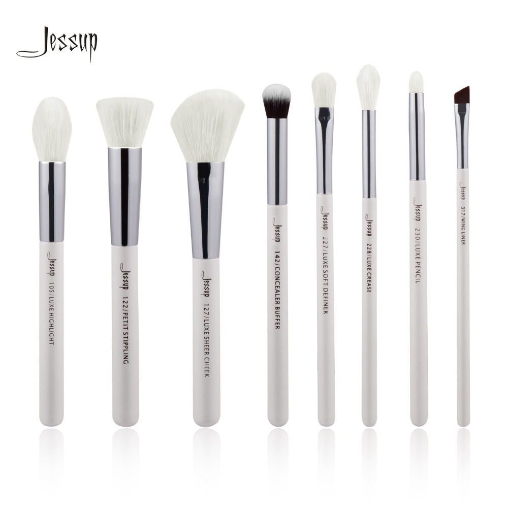 Jessup Pearl White/Silver Professional Makeup Brushes Set Make up Brush Tools kit Foundation Stippling natural-synthetic hair праймер nyx professional makeup eyeshadow base white pearl цвет white pearl variant hex name d6d2cf
