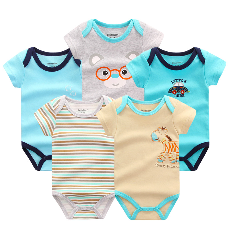2018 New Arrival Summer Baby Clothes 5 Pieces Newborn Baby Boy Girls   Rompers   Short Sleeve Cotton Print Baby Clothing   Romper