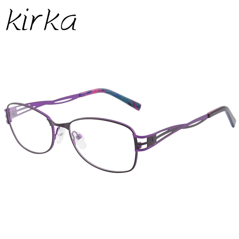 Kirka Fashion Purple Metal Frame Eyeglasses For Women Female Vintage ...