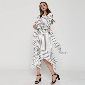Image 3 - CHICEVER Striped Casual Dress Women Long Sleeve Midi Dresses Female Lace up Bandage Asymmetrical Clothing Korean Autumn 2020 New